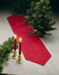 Click for more details of Red Hardanger Table Runner with Snowflakes (hardanger) by Permin of Copenhagen