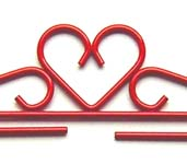 Red Heart Bellpull Hanger - single hanger 60 cm (24 inch)
