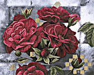 Click for more details of Red Roses on Black (cross-stitch kit) by Lanarte