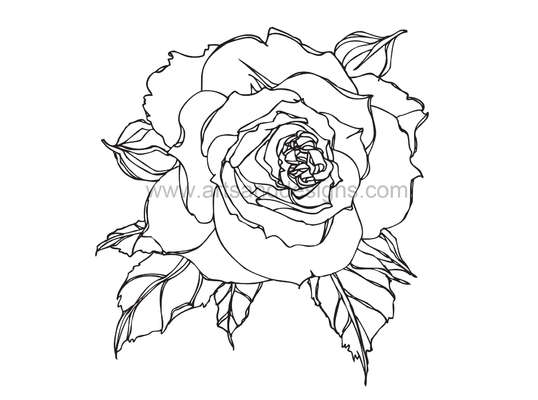 Click for more details of Romantic Rose Digital Stamp - Black (digital downloads) by Julie Lynes