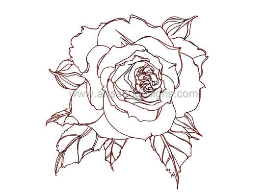 Click for more details of Romantic Rose Digital Stamp - Dark Pink (digital downloads) by Julie Lynes