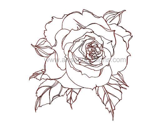 Click for more details of Romantic Rose Digital Stamp - Dark Pink (digital downloads) by Julie Lynes
