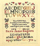 Click for more details of Roots and Wings Birth Sampler (cross-stitch pattern) by Pat Rogers