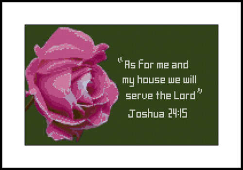 Click for more details of Rose with Joshua 24:15 (cross-stitch pattern) by Mary Gaines