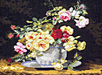 Click for more details of Roses in a Porcelain Bowl (cross-stitch kit) by Lanarte