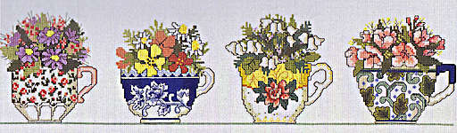 Click for more details of Row of Teacups (cross stitch) by Janlynn