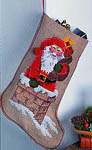 Santa and Chimney Christmas Stocking