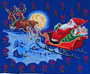Click for more details of Santa`s on his Way Advent Calendar (cross-stitch kit) by Permin of Copenhagen
