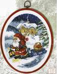 Click for more details of Santa with Sled and Apple Basket (cross stitch) by Permin of Copenhagen