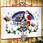 Click for more details of Santa with Sleigh Advent Calendar (cross-stitch kit) by Permin of Copenhagen