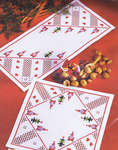 Click for more details of Santas and Christmas Trees Hardanger Table Mat (hardanger kit) by Permin of Copenhagen