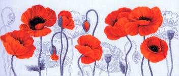 Click for more details of Scarlet Poppies (cross stitch) by Riolis