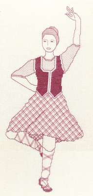 Click for more details of Scottish Highland Dancer (blackwork) by Anne Peden