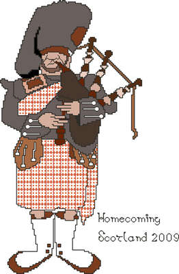 Click for more details of Scottish Piper (cross stitch) by Anne Peden