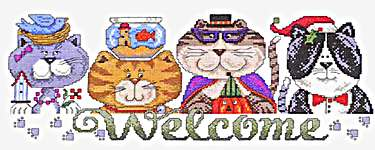 Click for more details of Seasonal Cat Welcome (cross-stitch pattern) by Imaginating