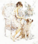 Click for more details of Seated Girl with Dog (cross-stitch kit) by Lanarte