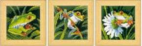 Click for more details of Set of Red-Eyed Tree Frogs (cross-stitch kit) by Vervaco