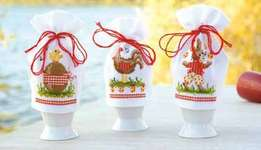 Click for more details of Set of Three Easter Egg Cosies (cross-stitch kit) by Vervaco
