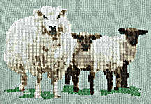 Click for more details of Sheep with Twin Lambs (cross-stitch kit) by Anne Peden