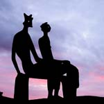 Click for more details of Silhouette of the King and Queen (photograph) by Margaret Elliot