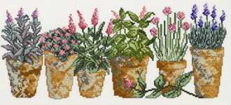 Click for more details of Six Herb Pots (cross-stitch kit) by Permin of Copenhagen