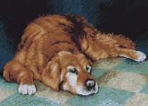 Click for more details of Sleeping Dog (cross-stitch kit) by Lanarte