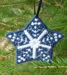 Click for more details of Snowflake Christmas Tree Ornament (tapestry pattern) by Anne Peden