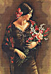 Click for more details of Spanish Lady with Bouquet (cross stitch) by Luca - S