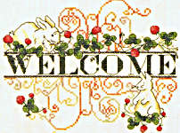 Click for more details of Spring Welcome - bunnies & strawberries (cross stitch) by MarNic Designs