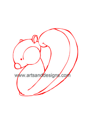 Click for more details of Squirrel Card Making Digital Stamp in Red (digital downloads) by Julie Lynes