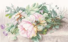 Click for more details of Still Life with Peonies and Morning Glory (cross-stitch kit) by Lanarte