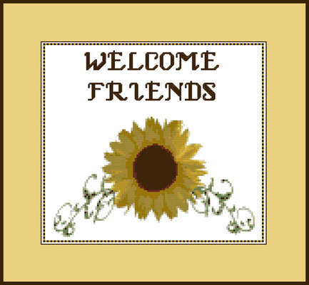 Click for more details of Sunflower Welcome Sign (cross-stitch pattern) by Mary Gaines