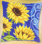 Click for more details of Sunflowers on Blue Cushion Front (tapestry kit) by Vervaco