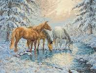 Click for more details of Sunlit Stream Horses (cross-stitch) by maia