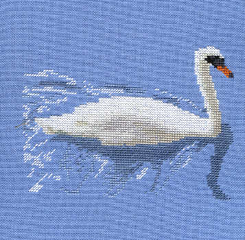 Click for more details of Swan on the River Thames at Abingdon (cross-stitch) by Anne Peden