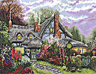 Click for more details of Sweetheart Cottage (cross stitch) by Thomas Kinkade