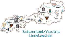 Click for more details of Switzerland, Austria and Liechtenstein Map (cross stitch) by Sue Hillis Designs