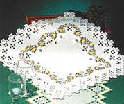 Click for more details of Table Centre with Cream, Yellow and Mauve Flowers (hardanger) by Permin of Copenhagen
