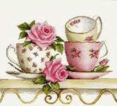 Click for more details of Teacups and Roses on a Shelf (cross stitch) by Luca - S