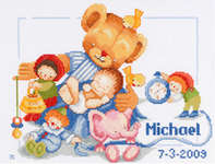 Click for more details of Teddy Bear Birth Sampler (cross-stitch kit) by Maria van Scharrenburg