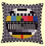 Click for more details of Television Test Card Cushion Square (tapestry) by Permin of Copenhagen
