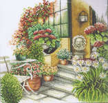 Click for more details of Terrace in Autumn Bloom (cross-stitch kit) by Lanarte
