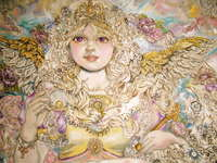 Click for more details of The angel of Golden pearl shining in gold.  (limited edition print) by Yumi Sugai