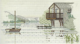 Click for more details of The Boat House (blackwork kit) by Rose Swalwell