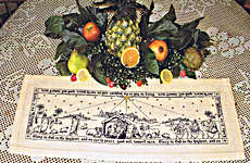 Click for more details of The Nativity Story Luke 2:14, Runner Table Topper (cross stitch) by Blackberry Lane Designs