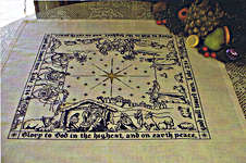 Click for more details of The Nativity Story Luke 2:14, Square Table Topper (cross-stitch pattern) by Blackberry Lane Designs