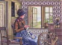 Click for more details of The Spinning Wheel (cross stitch) by Eva Rosenstand