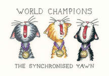 Click for more details of The synchronised yawn (cross-stitch kit) by Peter Underhill