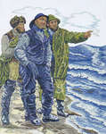 Click for more details of Three Fishermen (cross stitch) by Eva Rosenstand