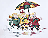 Click for more details of Triplets - In The Rain (cross-stitch kit) by Royal Paris